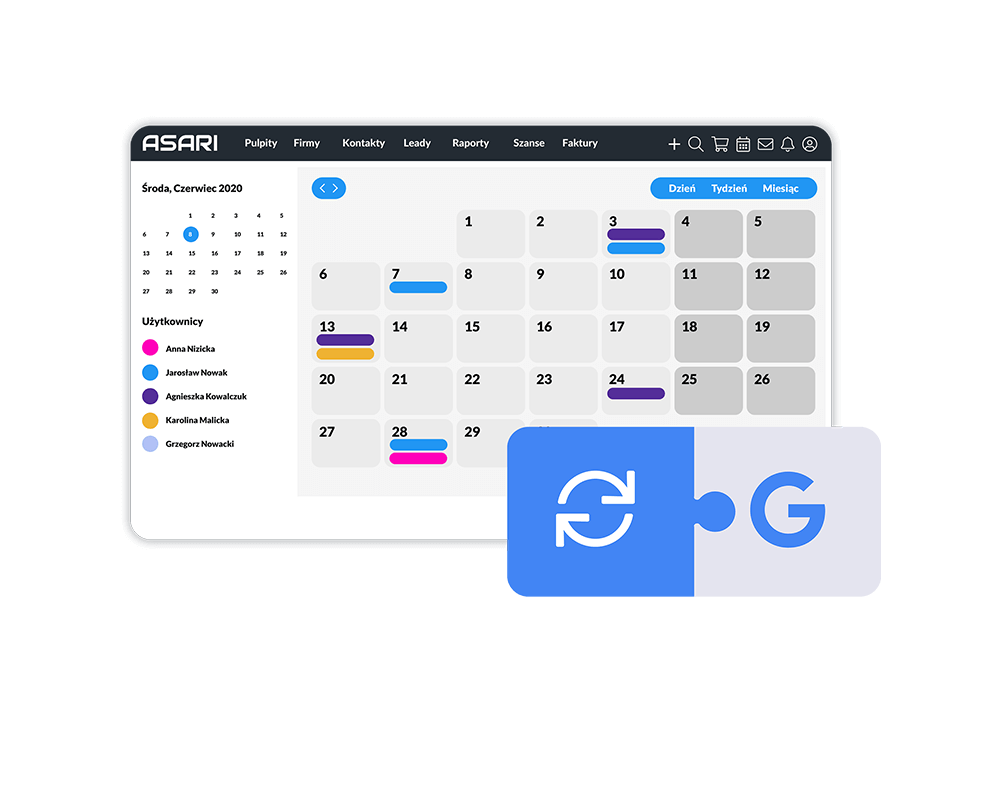 Kalendarz CRM Google