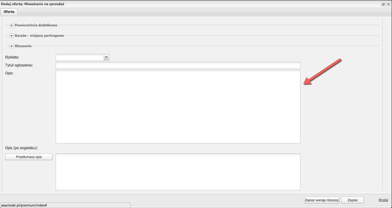 Okno dodawania opisu oferty w asariWEB