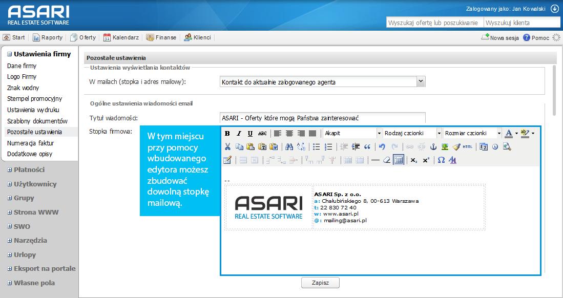 Stopka mailowa w ASARI CRM