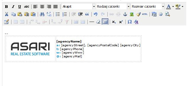 Edycja stopki mailowej w ASARI CRM