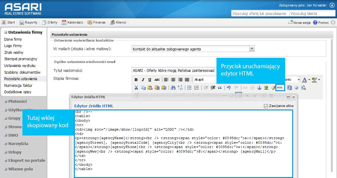 Edycja kodu stopki mailowe w programie ASARI