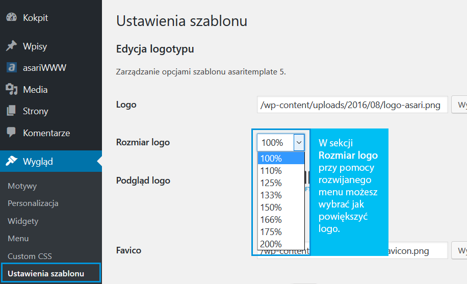Zmiana rozmiaru logo w WordPress dla szablonów stron ASARI