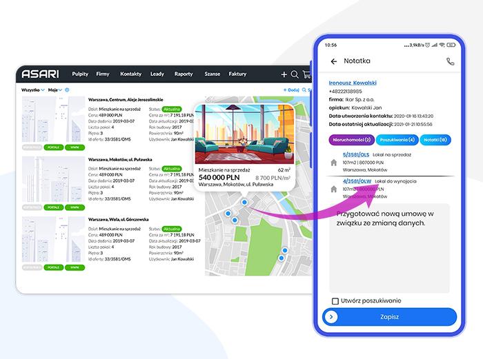Aplikacja mobilna CRM dla firmy z trackingiem GPS