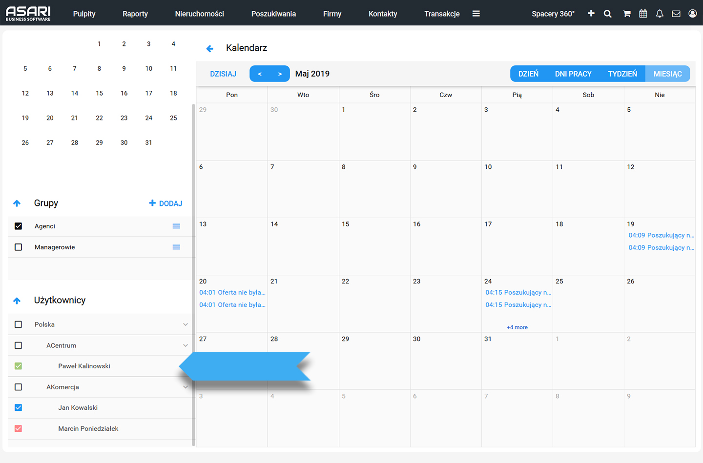 Kalendarz spotkań w ASARI CRM