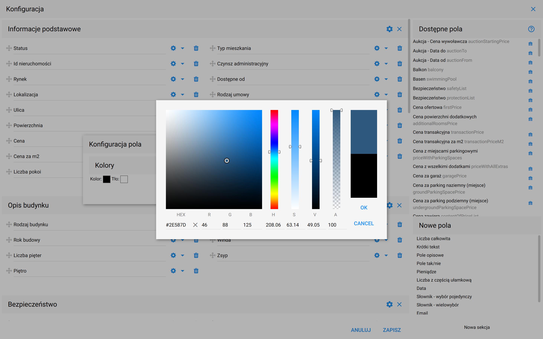 Paleta kolorów RGB - HEX