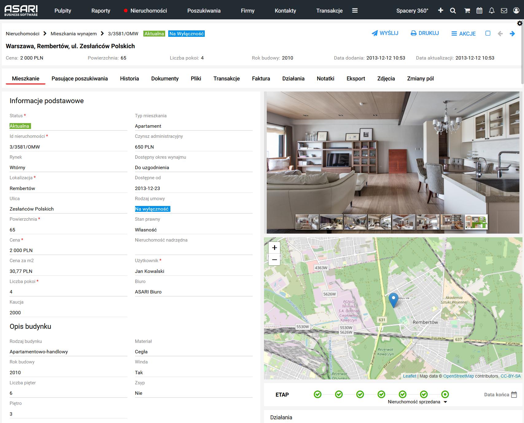 Widok listy nieruchomości w oprogramowaniu ASARI
