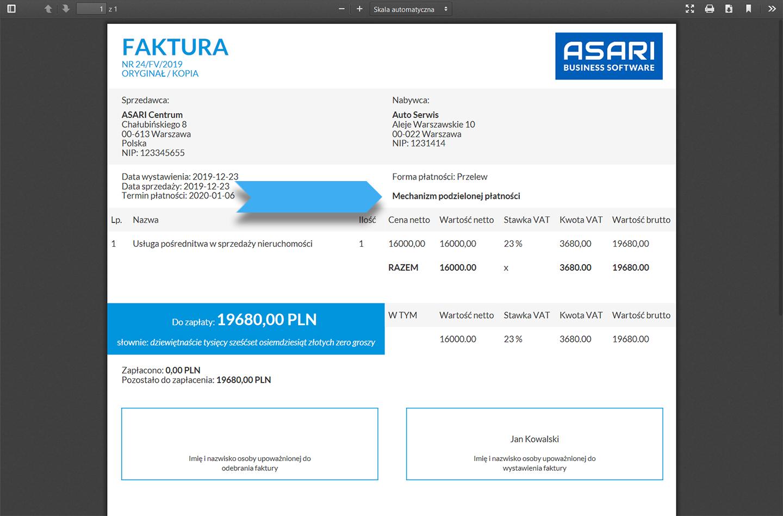 Wystawianie faktury ze split payment w systemie ASARI CRM